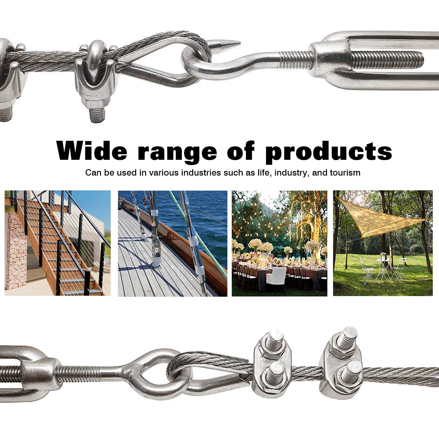 304 Stainless Steel Hook and Eye Wire Rope Tension Pack of 2 Adjustable Cable Rope Tensioner WiMas M10 Turnbuckle