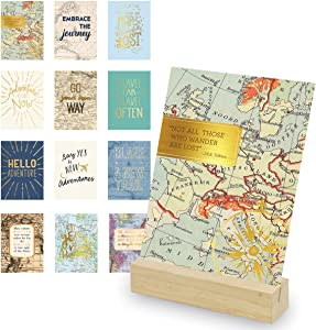 Eccolo World Traveler Adventure Art Desk Stand, Wooden Block Stand, 12 Gold Stamped Inspirational Cards