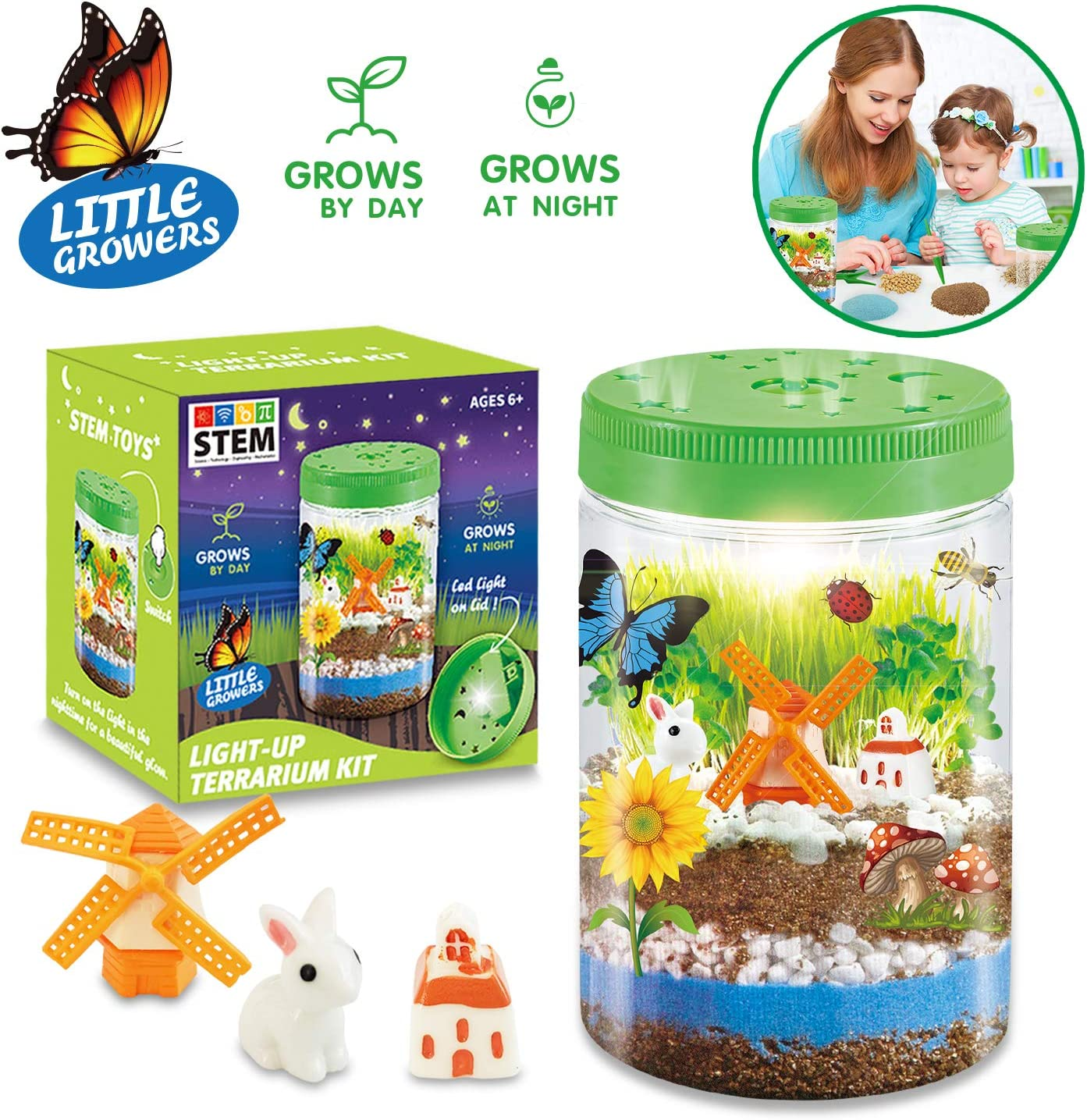 HOMOFY Light-up Terrarium Kit for Kids with LED Light - Create Mini Garden That Glows at Night, STEM Educational Science Kits for Kids 5 6 7 8 9 Years Old Boys & Girls - Gardening Gifts for Kids