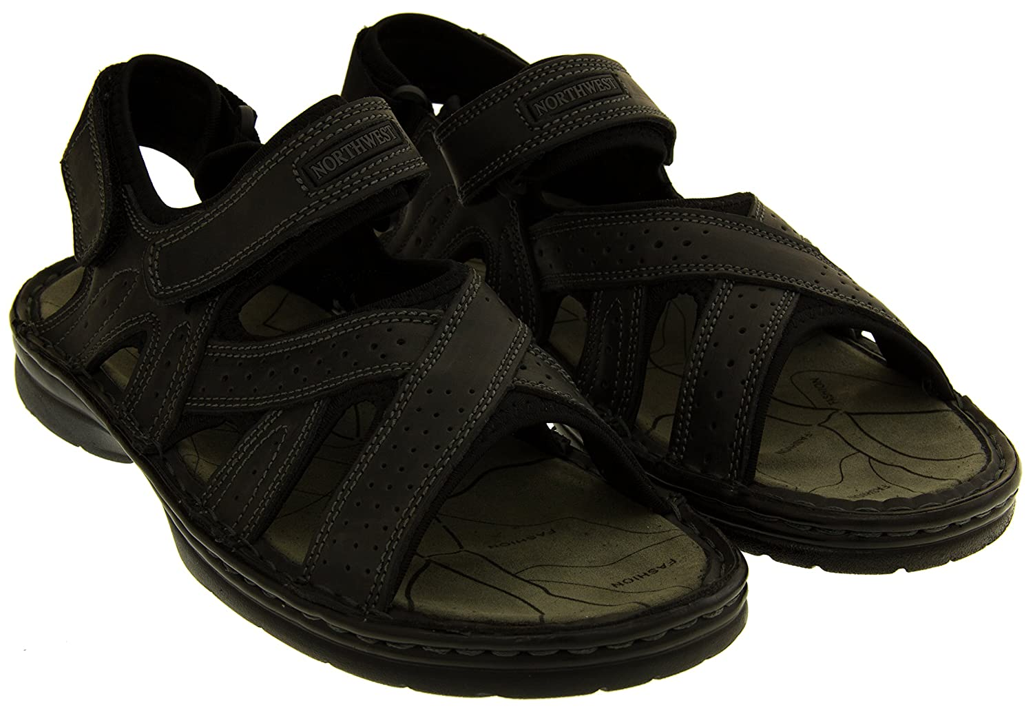 Footwear Studio Northwest Territory Mens Sudan Leather Touch Fastening Strap  Hiking Sandals: Amazon.co.uk: Shoes & Bags