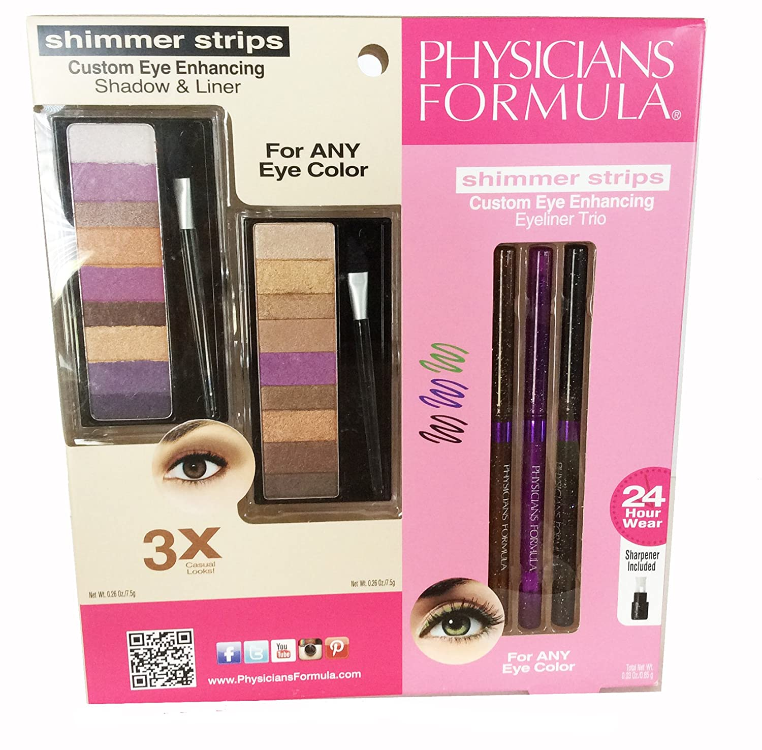 Physicians Formula Dual Package, Shimmer Strips Custom Eye Enhancing Shadow and Liner AND Eiliner Trio for any Eye Color