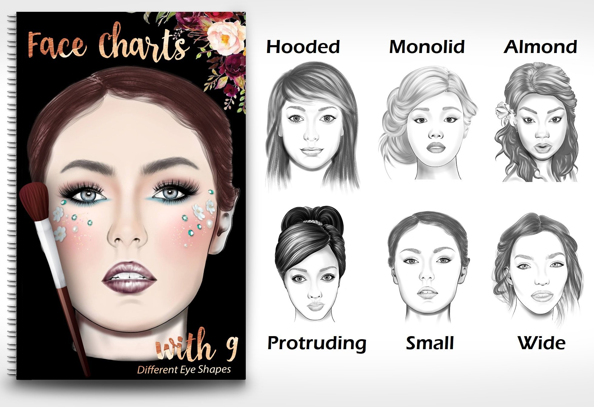 1b8b7fe3a Makeup Artist Face Chart Book- 9 Different eye shapes & Nationalities 2  Spiral-bound – 2016