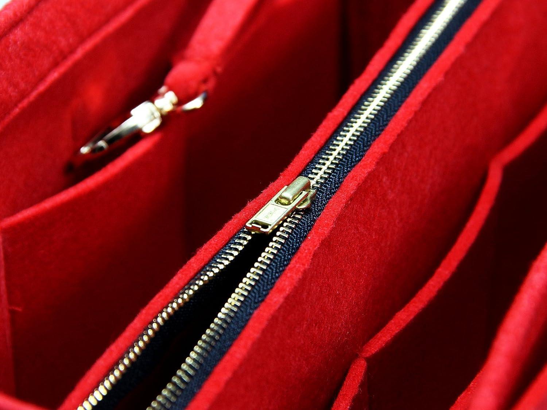 Fits Neverfull PM//Speedy 25, Red Felt Tote Bag Organizer Purse Insert 3mm Felt, Detachable Pouch w//Metal Zip