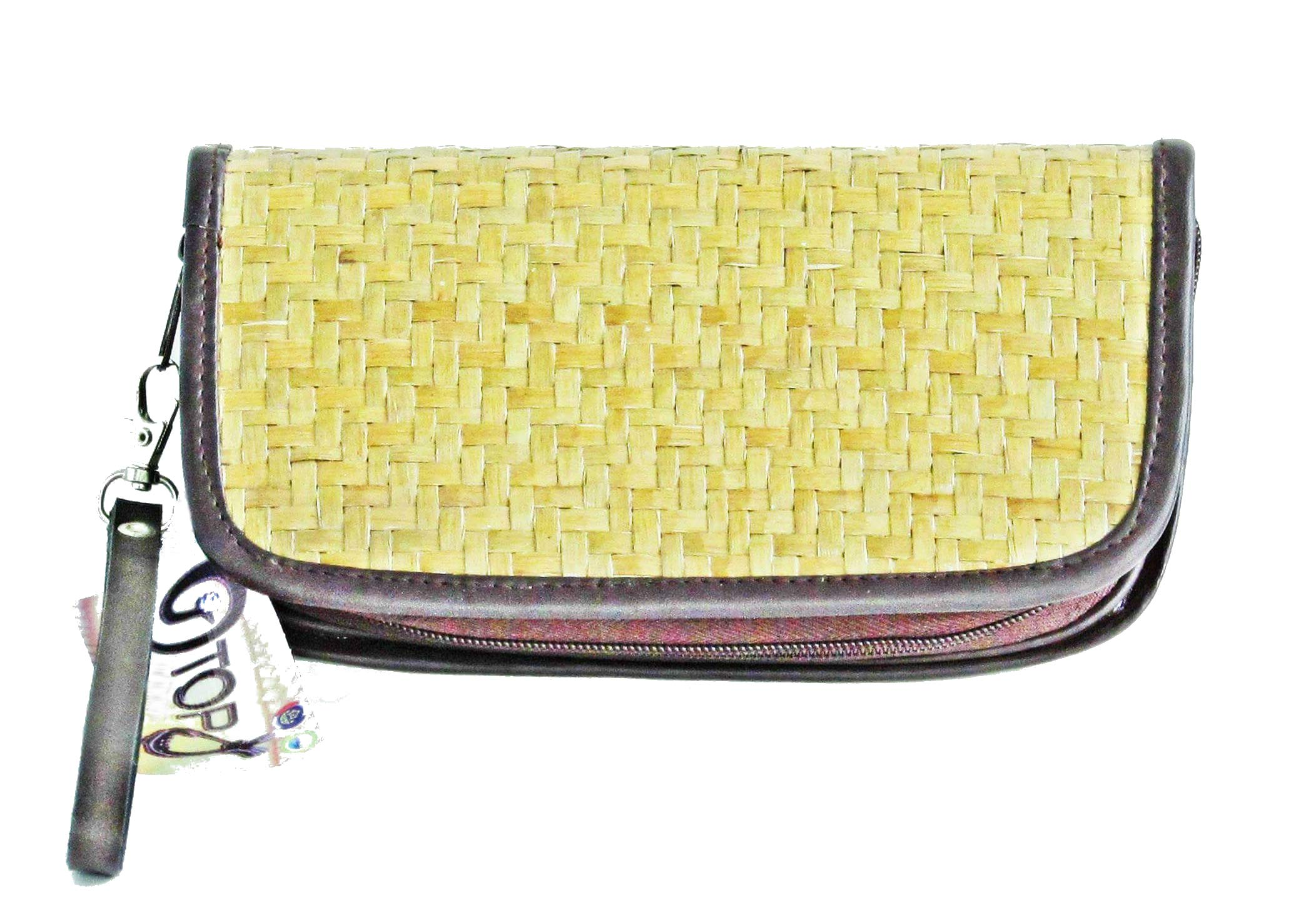Authentic Siamese Seagrass Straw Wristlet Wallet Hand Woven by Local Thai Artisans (Natural)