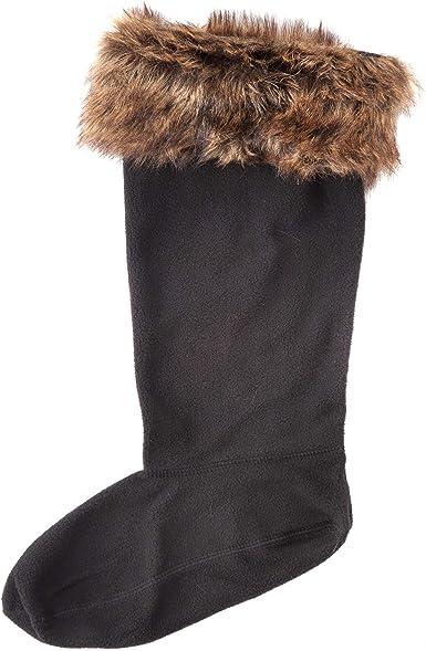 Fleece Welly Sock Warmers Wellington Socks Black//RED Boot Liners Adult Warm