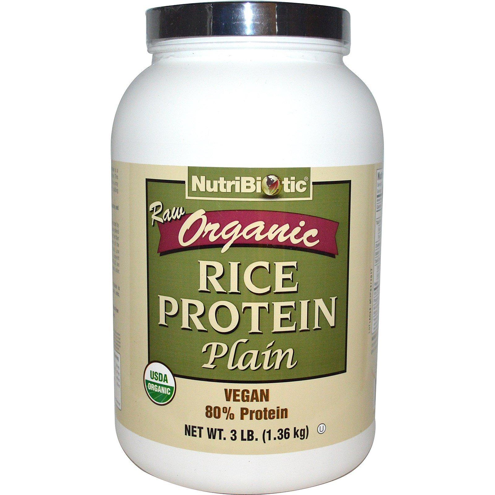 NutriBiotic, Raw Organic Rice Protein, Plain, 3 lbs (1.36 kg) - 2pc