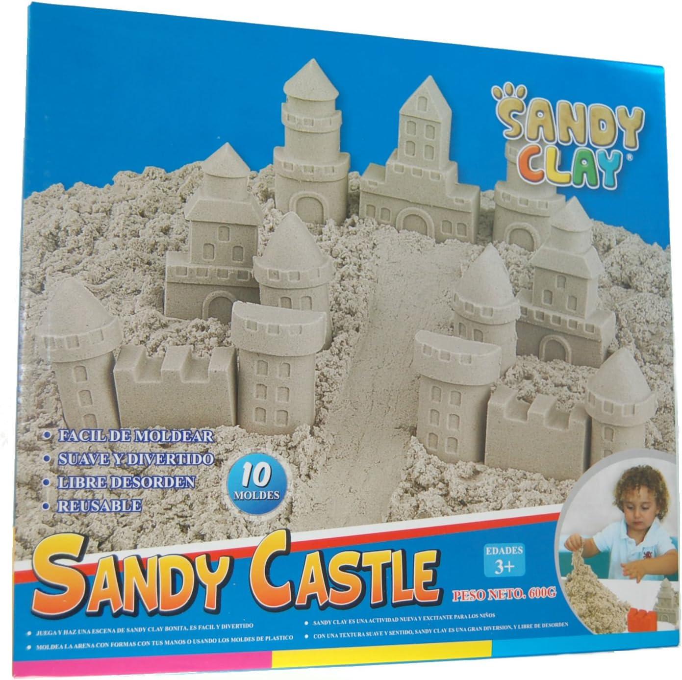 Sandy Clay - Juego de Moldear Arena - Castillo Arena Moldeable - 600 g - 10 Moldes - Actividad Creativa: Amazon.es: Juguetes y juegos