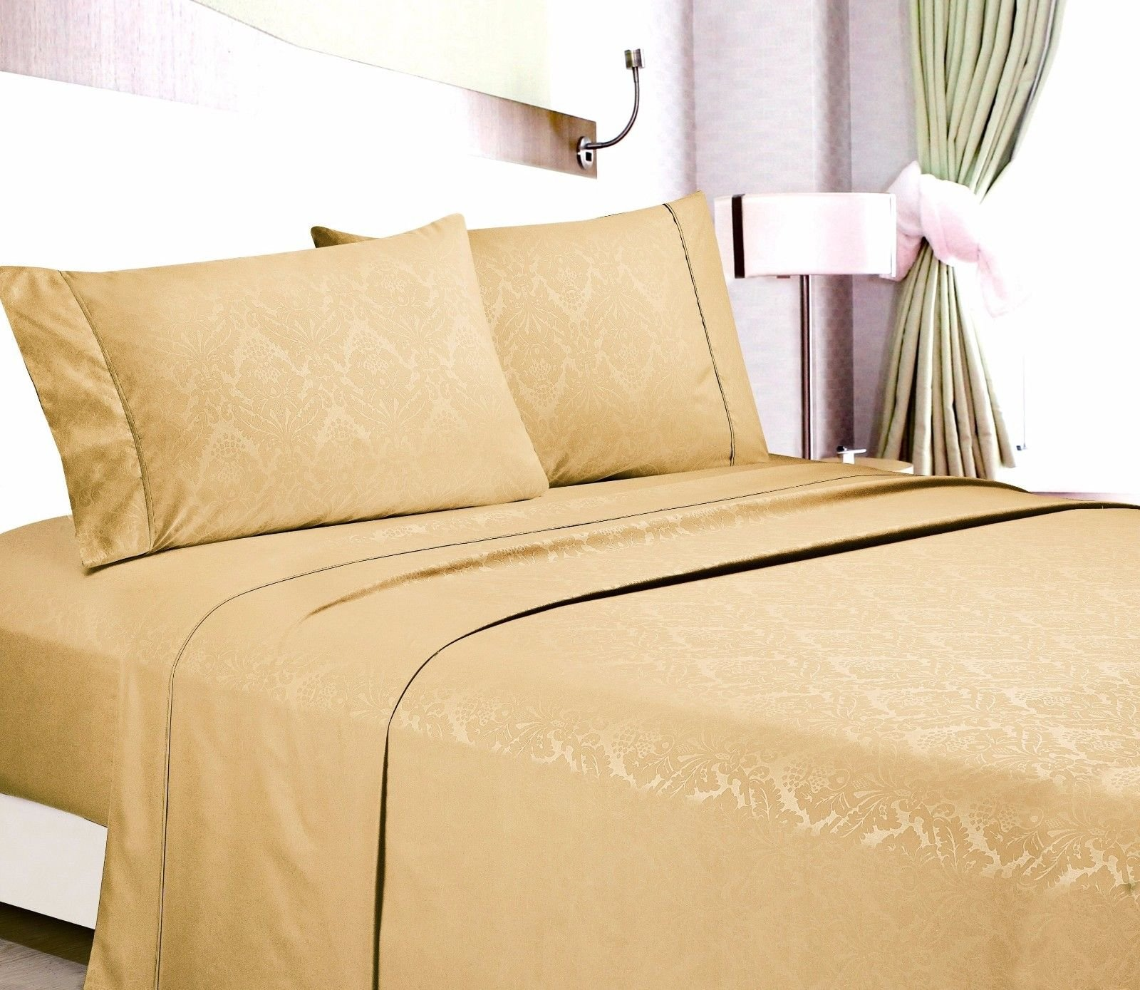 Egyptian Comfort Hotel Quality Embossed Floral Sheet Set Queen/Gold