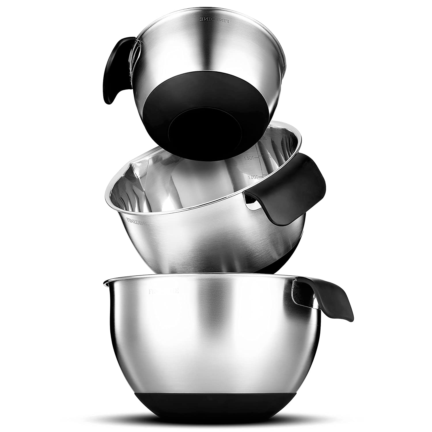 Easy Pouring Spout Modern Nesting Bowls Set with Measurement Marks Skid Free Bottom 1.5-2 FineDine Premium Grade Stainless Steel Mixing Bowls With Comfortable Grip Handle 2.5 Quart FD-S107 Set of 3