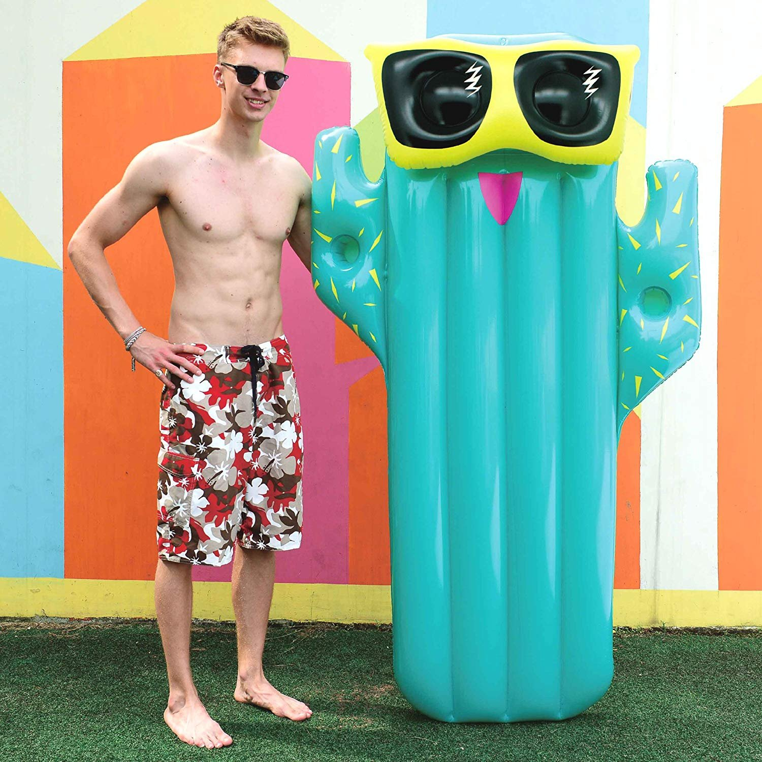 Cactus with Drinks holder - Inflatable Pool Toys Float Inflatable Floating Raft PVC Giant Popsicle Pool Lounger Air Mattress Blow Up Beach Toy for Kids Adults Summer Holiday - Made of Premium Strong PVC Material - By Guilty Gadgets