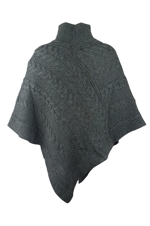 100% Irish Merino Ladies Aran Knit Poncho by West End Knitwear at ...
