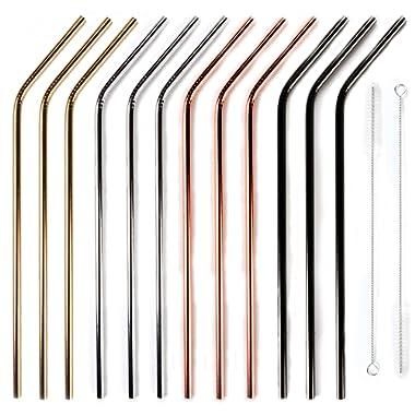 12+2 Pcs Reusable Stainless Steel Straws, Metal Straws, 4 Colors Gold, Silver, Rose Gold & Black - 20 oz & 30 oz Tumblers Straws (Bent)