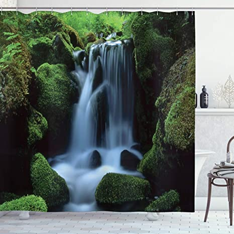Amazon Com Ambesonne Waterfall Shower Curtain Flowing Water From Mountains And Stream With Moss Covered Stones Picture Cloth Fabric Bathroom Decor Set With Hooks 75 Long Dark Green White Home Kitchen