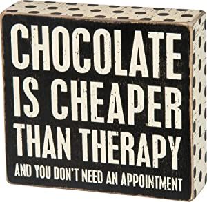 Primitives by Kathy 28464 Polka Dot Trimmed Box Sign, 6 x 5.5-Inches, Chocolate is Cheaper