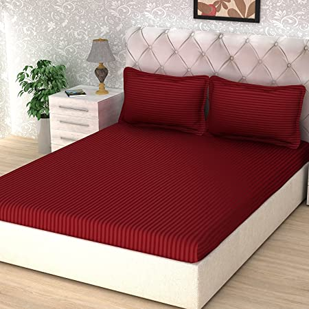 Reliable Trends 300 TC Plain Stripe Cotton King Size Elastic Fitted Bedsheet(230x250cm, Multicolour)
