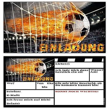 12 Fussball Einladungskarten im Karten-Set zum Kinder-Geburtstag oder Fußball-Party - Einladungen für Jungen Mädchen und Erwa