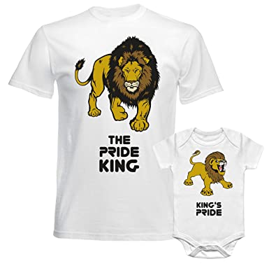 b98ab063 Image Unavailable. Image not available for. Colour: SuperPraise Father Daddy  Daughter Dad Son Matching T Shirts The Pride King ...