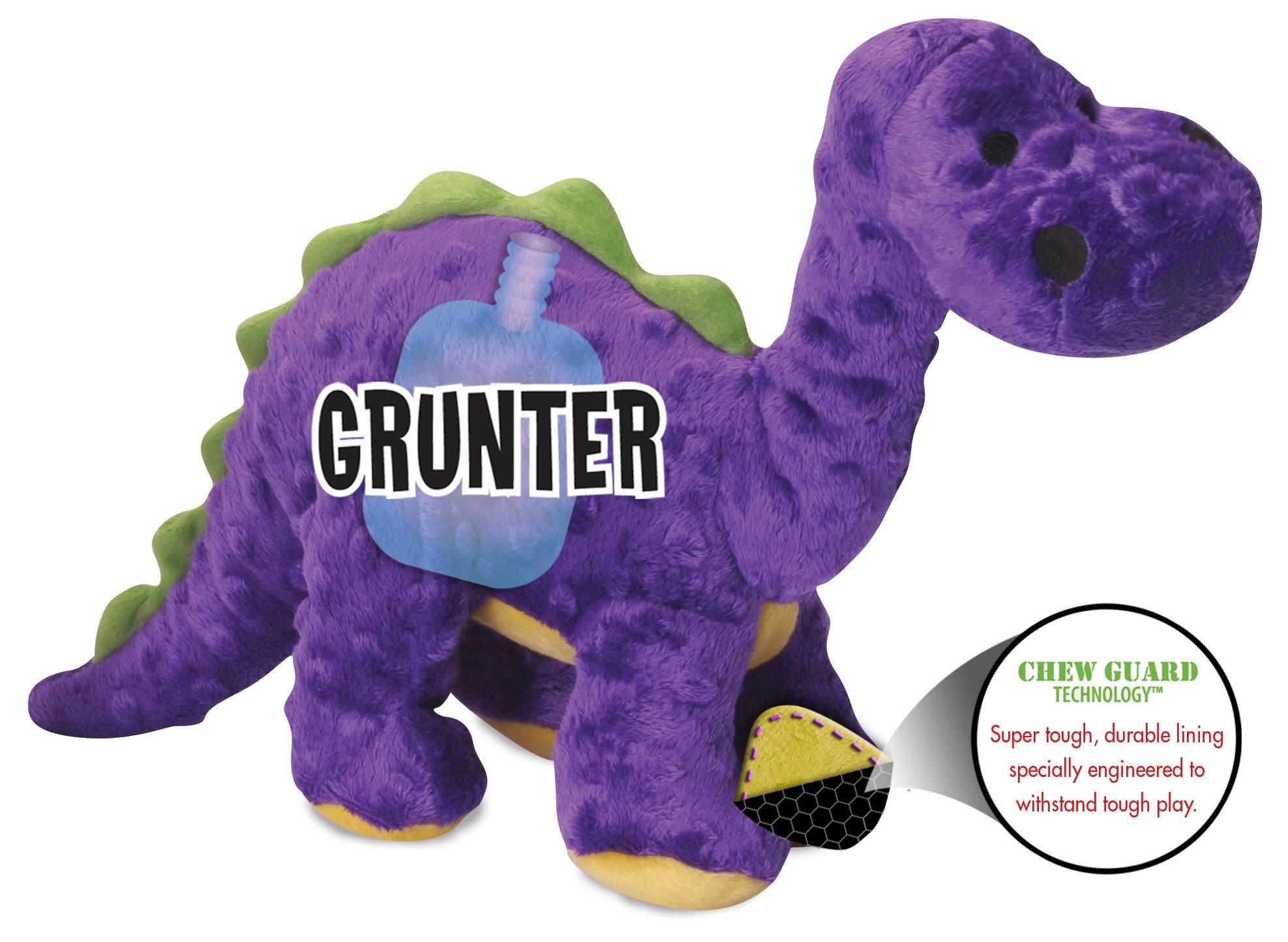 goDog Dinos Bruto with Chew Guard Tough Plush Dog Toy, Purple, Large by goDog (Image #3)