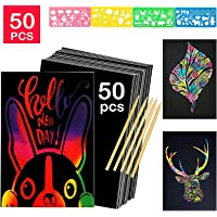 Scratch Art for Kids,50 Sheets Rainbow Scratch Notes Paper Combo Arts Set Black Magic Scratch Art Notes Paper Boards Doodle Pad with 5 Wooden Stylus and 4 Drawing Rulers and 1 Pencil Sharpener