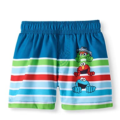 f3b76762c8 Sesame Street Oscar The Grouch Elmo Cookie Monster Baby Boy Swim Trunks (0-3