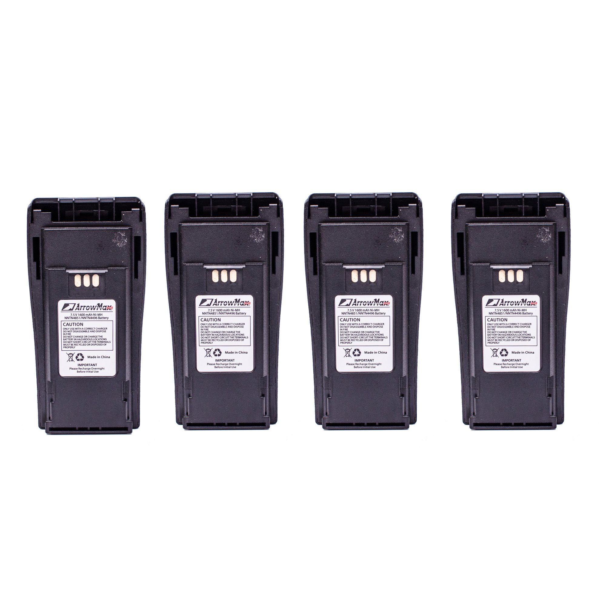 4 Pack Arrowmax AMCM4496-1600-D 1600mAh NNTN4496 NNTN4497 Battery for Motorola CP140 CP160 CP-200 CP200 CP200XLS