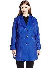 c5ba1f44332 Via Spiga Women s Plus-Size Single-Breasted Pleated Trench Coat