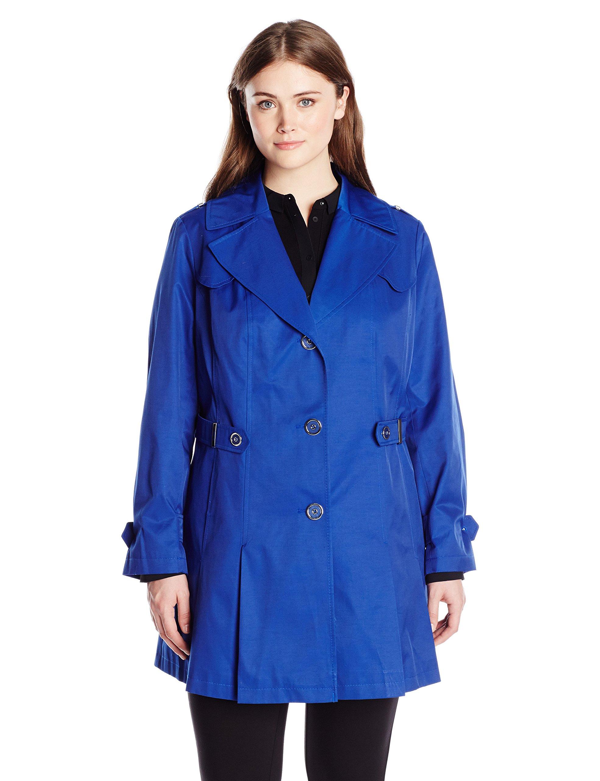 Via Spiga Women's Plus-Size Single Breasted Pleated Trench Coat, Positano Blue, 1X