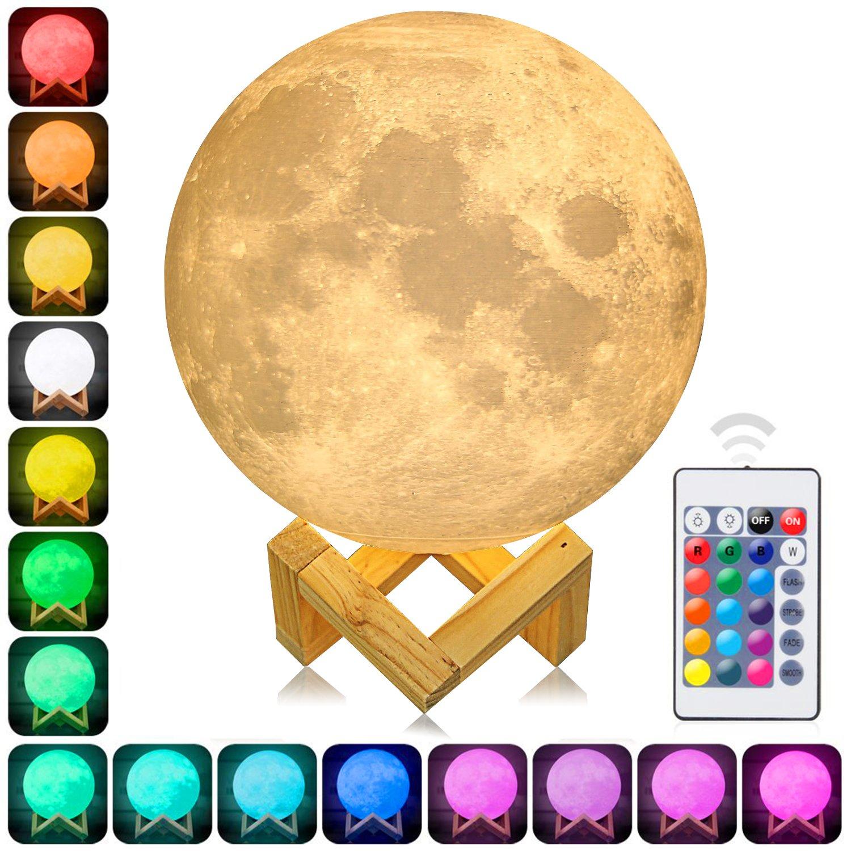 AFBEST 3D Mond Licht 15cm LED Nachttischlampe, Mond Lampe mit Touch Control & USB Wiederaufladbare & Anpassbare Helligkeit und 16 Farbe ,beste Licht für Kinderzimmer und Romantisch Licht Geschenk [Energieklasse A+++]