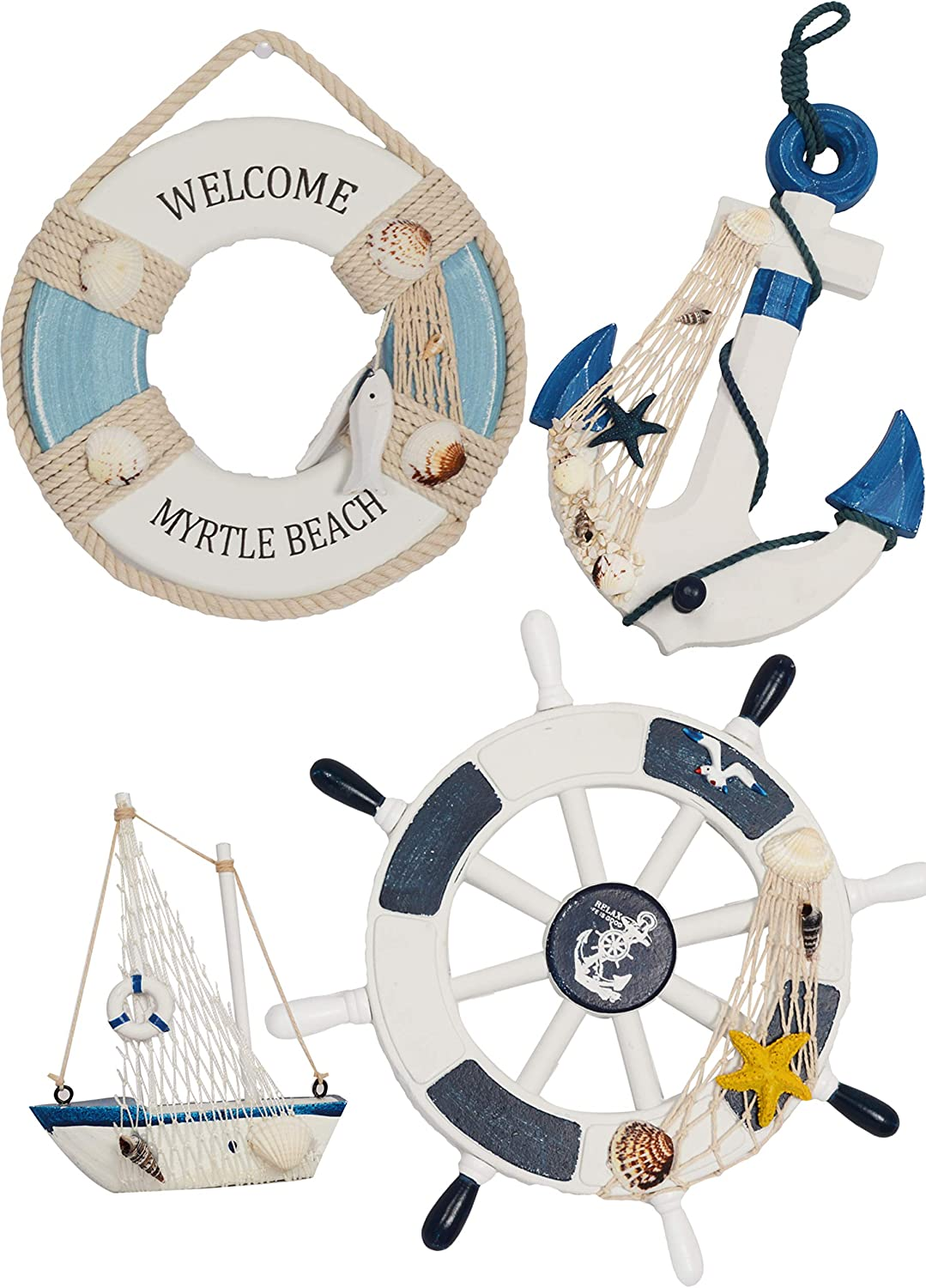 Wooden Nautical Lighthouse Anchor Wall Hanging Ornament, Beach Wooden Boat Ship Steering Wheel Wall Decor, Nautical Life Ring Wall and Door Hanging Ornament Plaque (White)