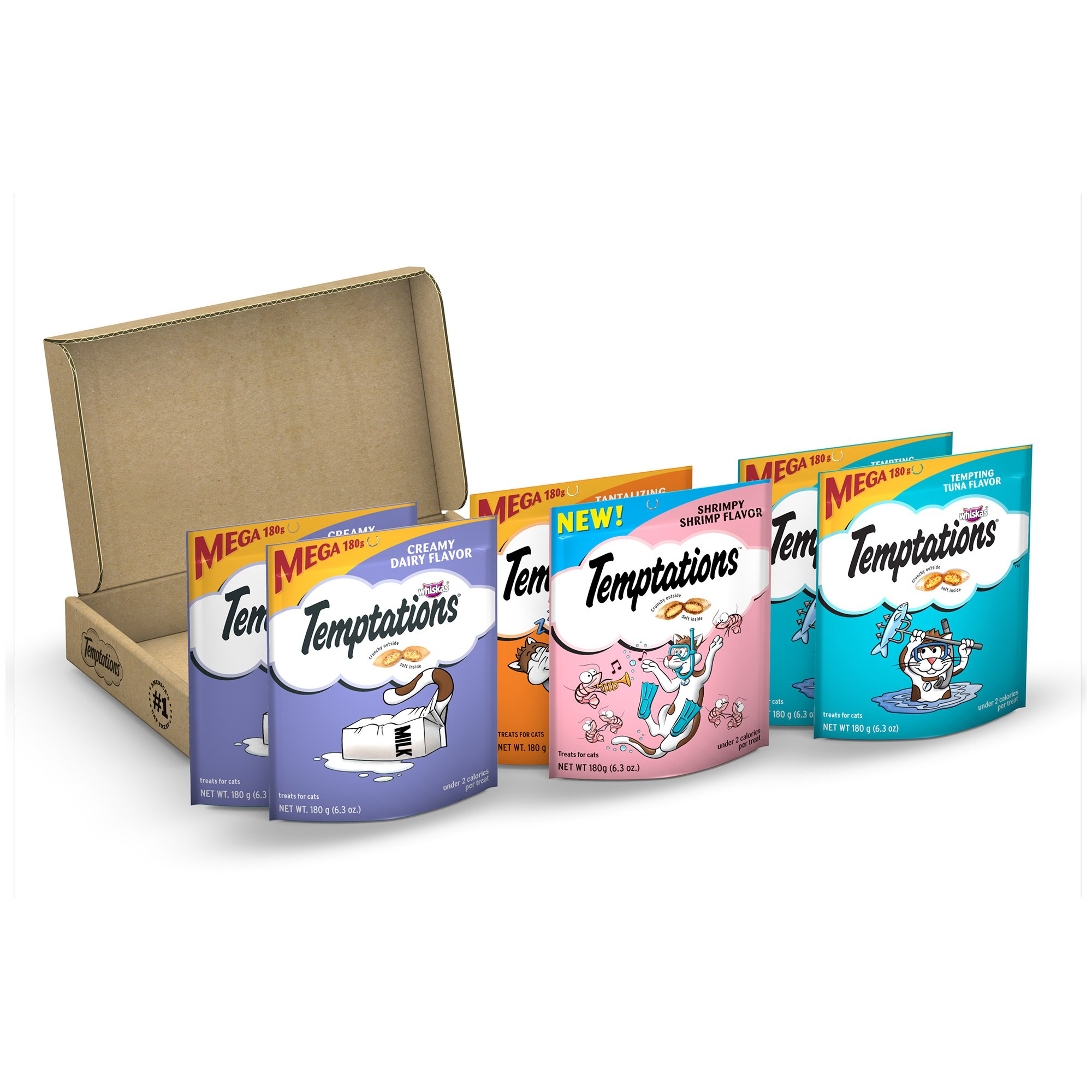 Temptations Cat Treats Variety Pack: Creamy Dairy, Tempting Tuna, Shrimpy Shrimp, and Tantalizing Turkey Flavor, 6.3 Ounce (6 Packs per case)