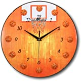 13 Inch Basketball Clock - Sports Themed Boys and Girls Room Wall Clocks by bogo Brands