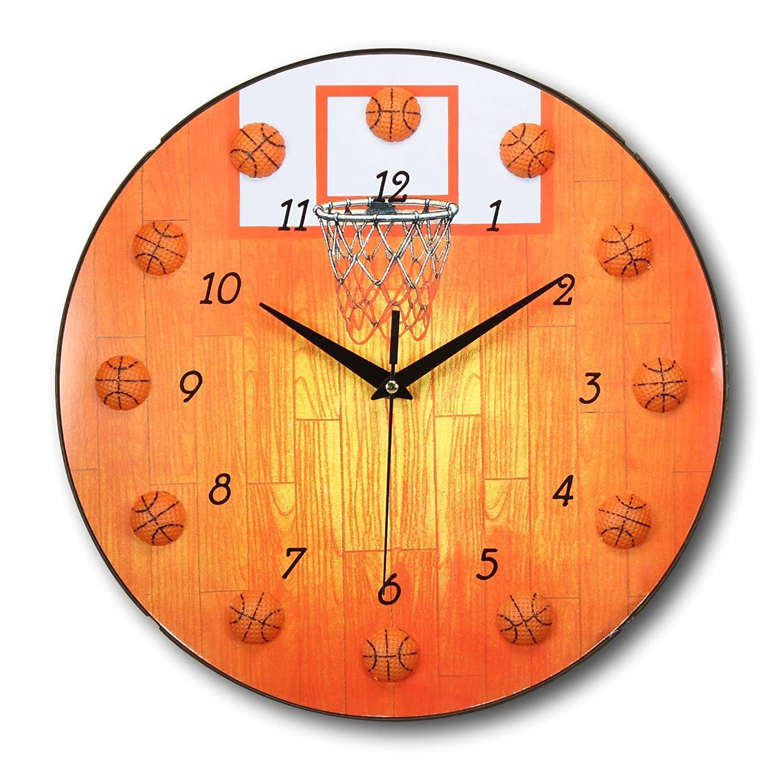 amazon com 13 inch basketball clock sports themed boys and amazon com 13 inch basketball clock sports themed boys and girls room wall clocks by bogo brands home kitchen