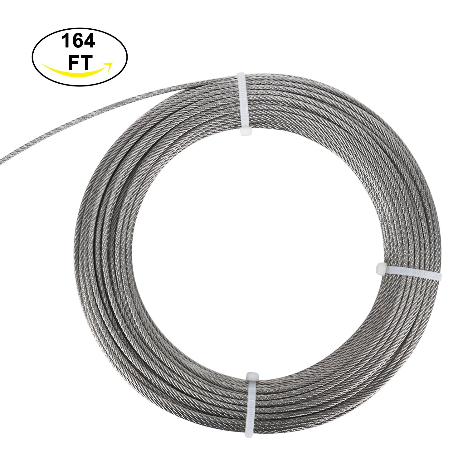 DasMarine Stainless Aircraft Steel Wire Rope Cable for Railing,Decking, DIY Balustrade, 1/8Inch,7x7,164Feet by DasMarine (Image #2)