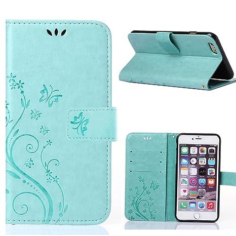 MOONCASE iPhone 6S Plus Funda Flor Carcasa Cuero Tapa Cover para iPhone 6 Plus / 6S