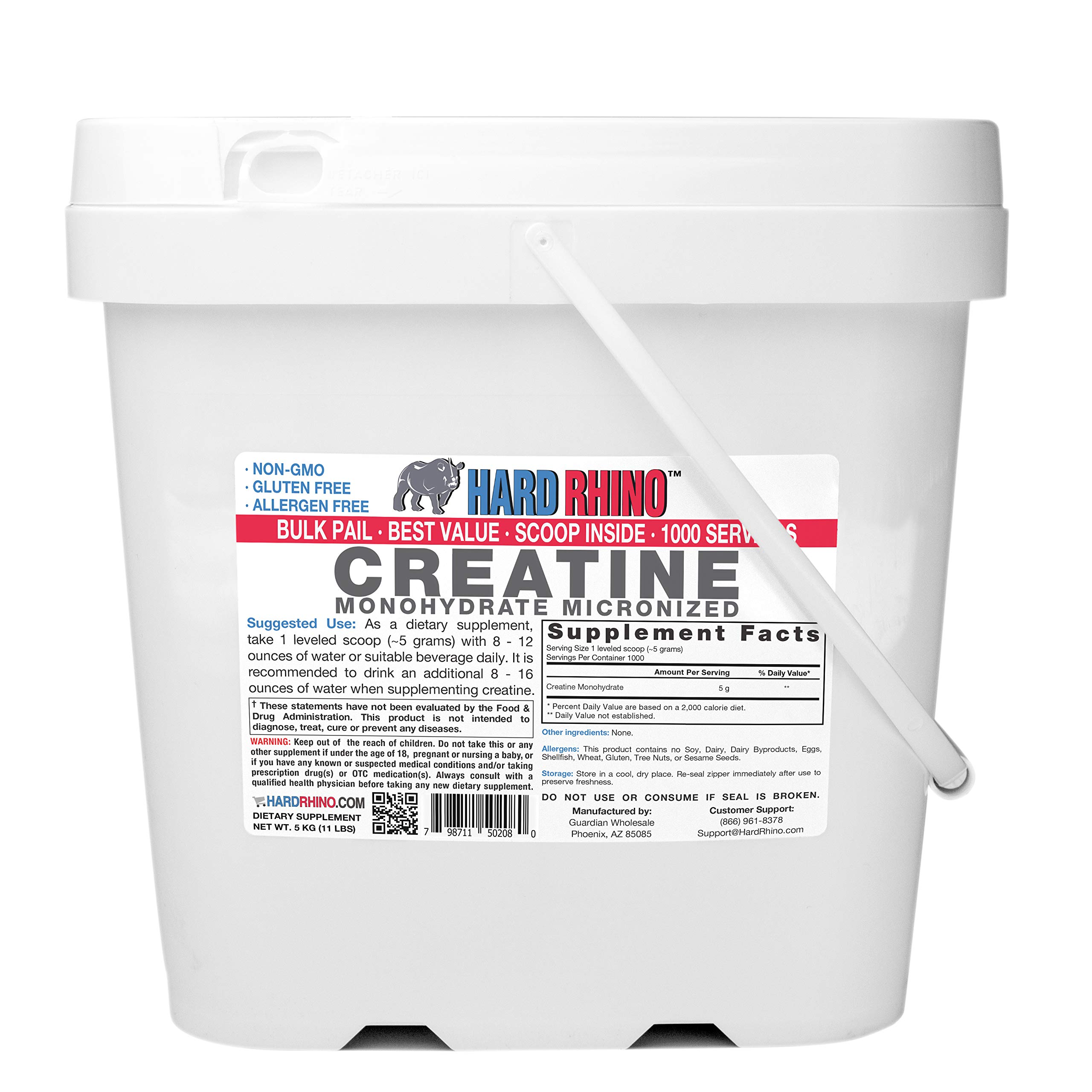 Hard Rhino Creatine Monohydrate Micronized Powder, 5 Kilograms (11 Lbs), Unflavored, Lab-Tested, Scoop Included