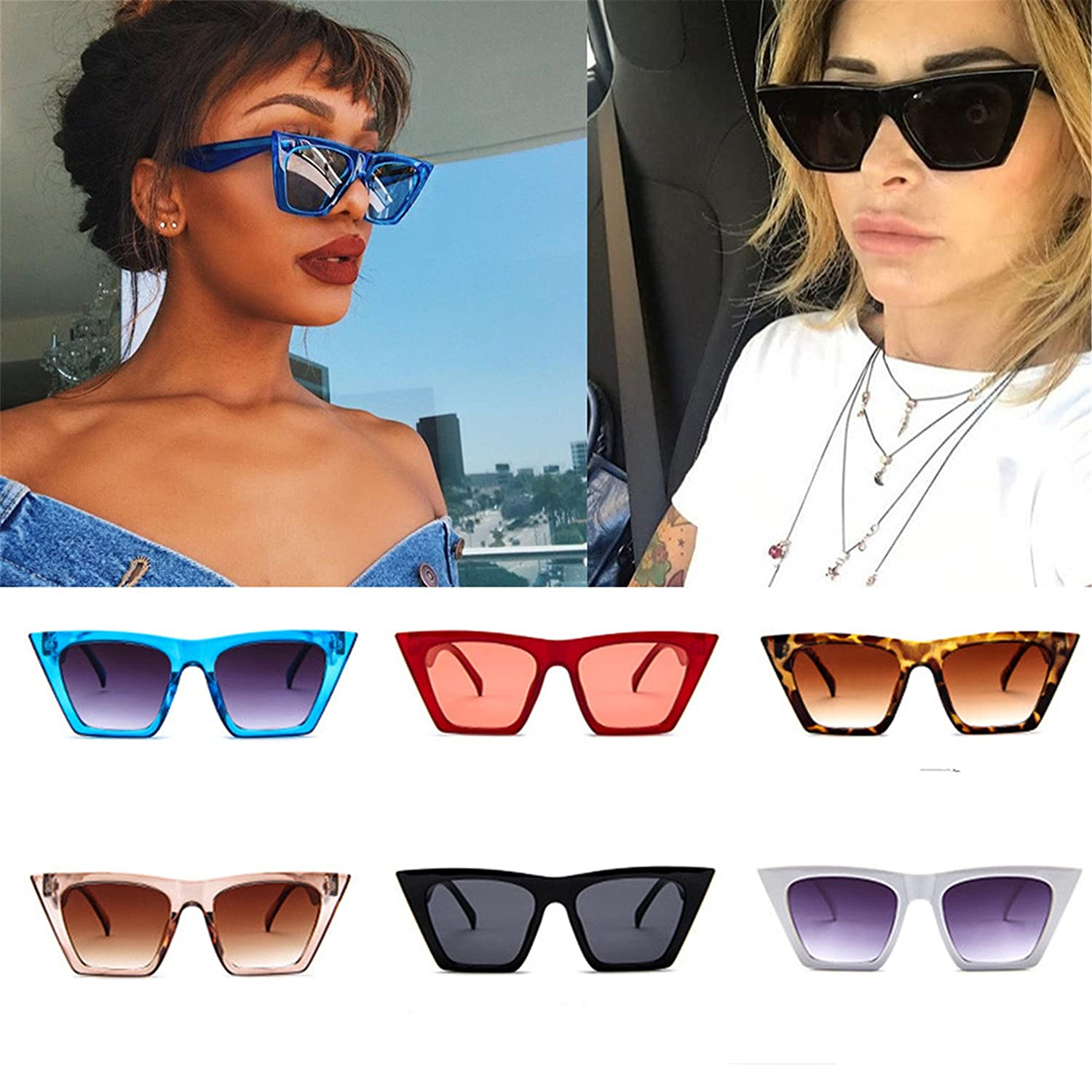 8a39555e74e Amazon.com  HOT SALE! BYEEE Lucky your eyes - Vintage Cat Eye Sunglasses