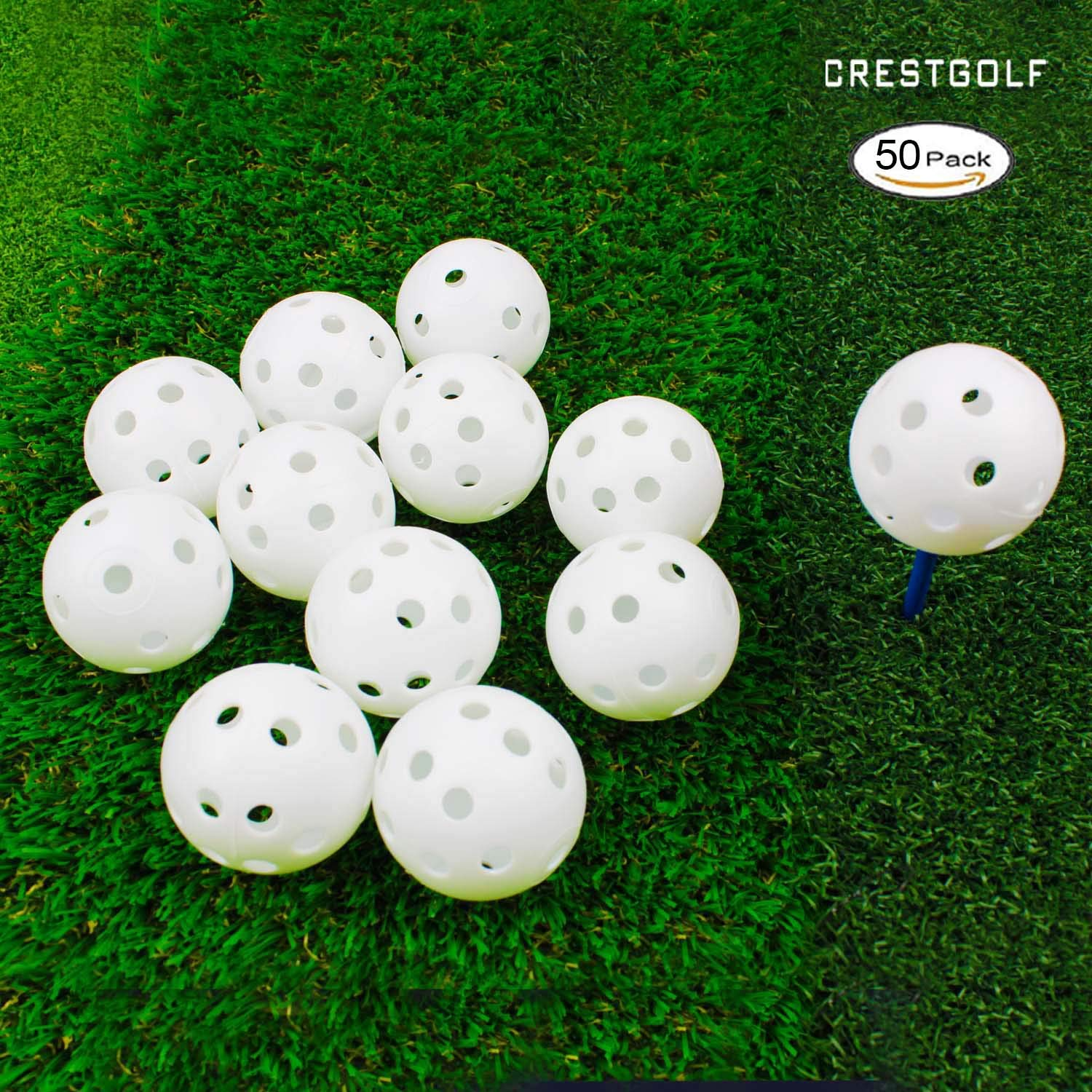 Crestgolf 12/50 Pack Plastic Golf Training Balls - Airflow Hollow 40mm Golf Balls for Driving Range, Swing Practice, Home Use,Pet Play.(White,50pack) by Crestgolf