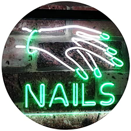 AdvpPro 2C Nails Beauty Salon Indoor Display Dual Color LED Neon Sign White & Green 300mm x 210mm st6s32-i2553-wg
