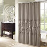Comfort Spaces Cavoy Shower Curtain Taupe Tufted Pattern