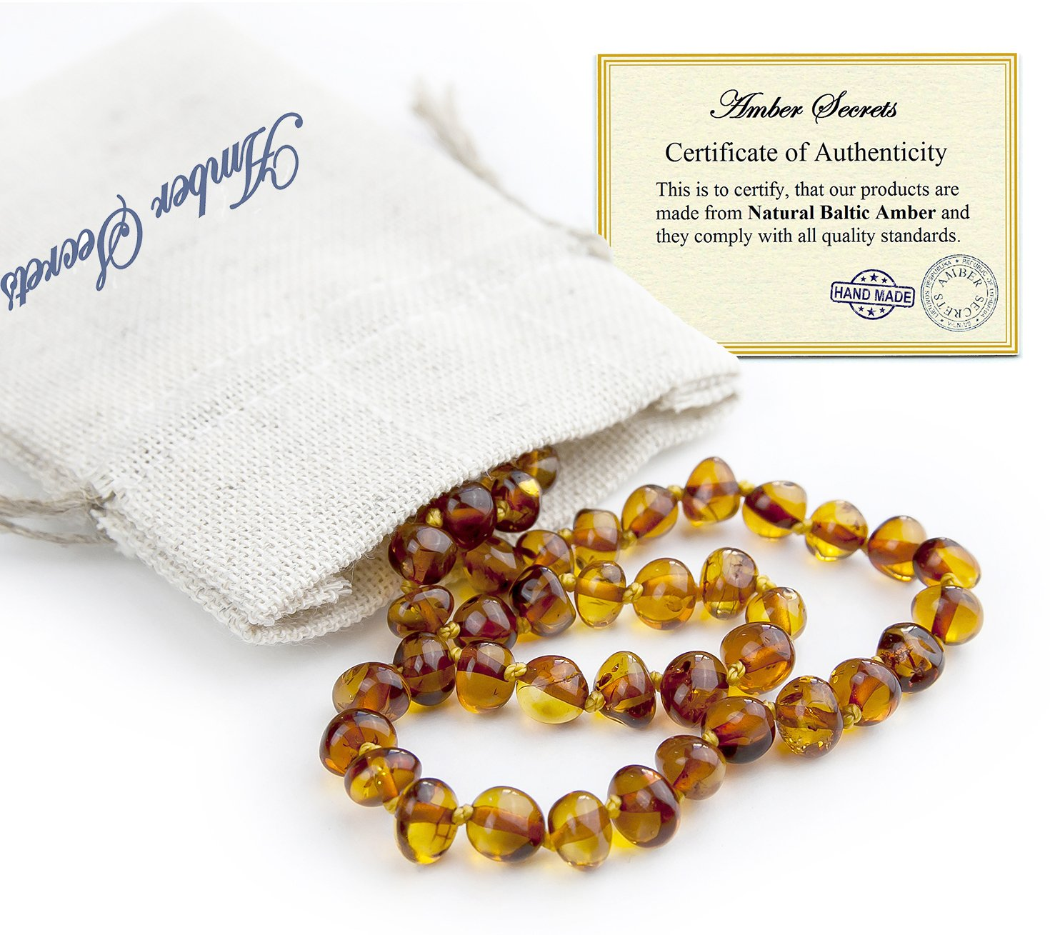 Baltic Amber Teething Necklace for Babies (Unisex) - Color Cognac - Natural Certificated Oval Baltic Jewelry with The Highest Quality Guaranteed - Easy to Fastens, Screw Clasp - Packed in Linen Bag by Amber Secrets