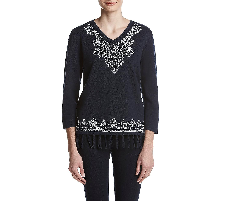 Alfred Dunner Women's Petite Scroll Yoke Border Fringe Sweater