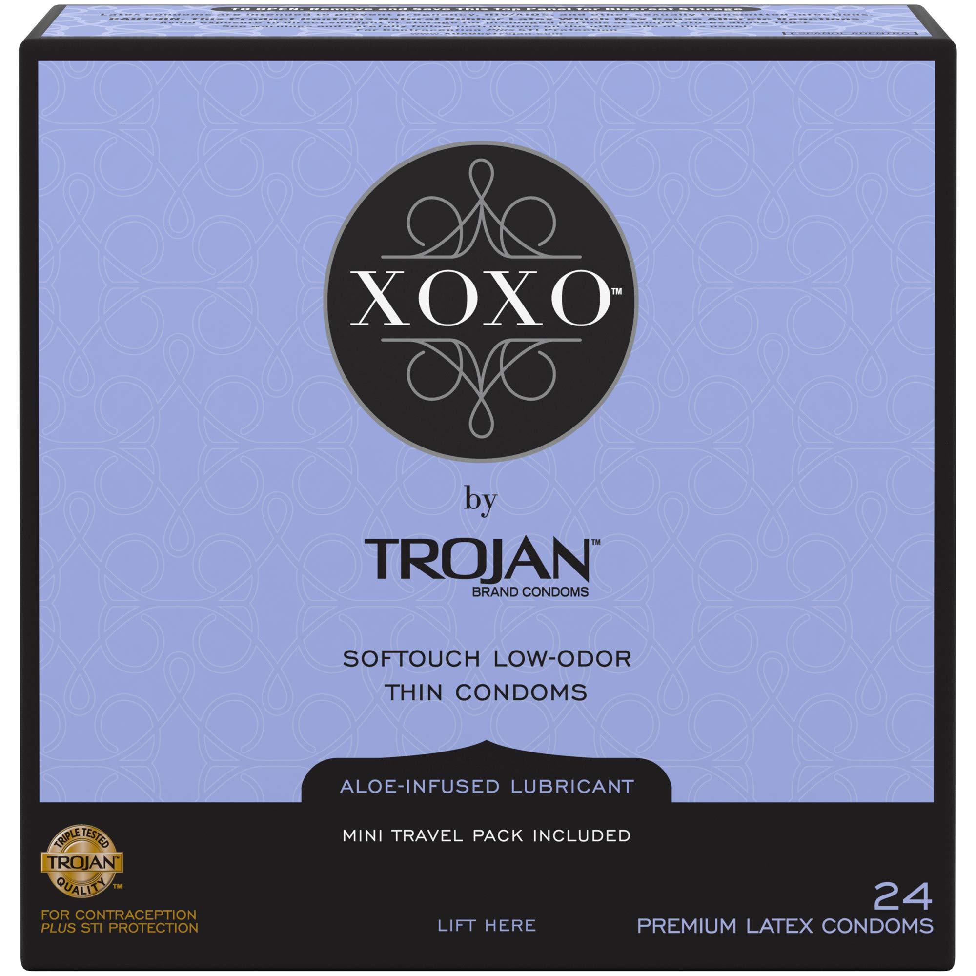 Trojan XOXO Thin Softouch Lubricated Latex Condoms, 24ct by TROJAN