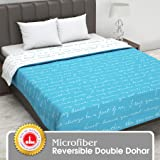 Divine Casa Abstract Microfiber Double Reversible/AC Blanket/Dohar - Baltic Sea and White