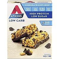 Atkins Chocolate Chip Crisp Bars | Keto Friendly Bars | 5 x 37g Low Carb Chocolate Bars | Low Carb,  Low Sugar, High Protein, High Fibre | 5 Bar Pack