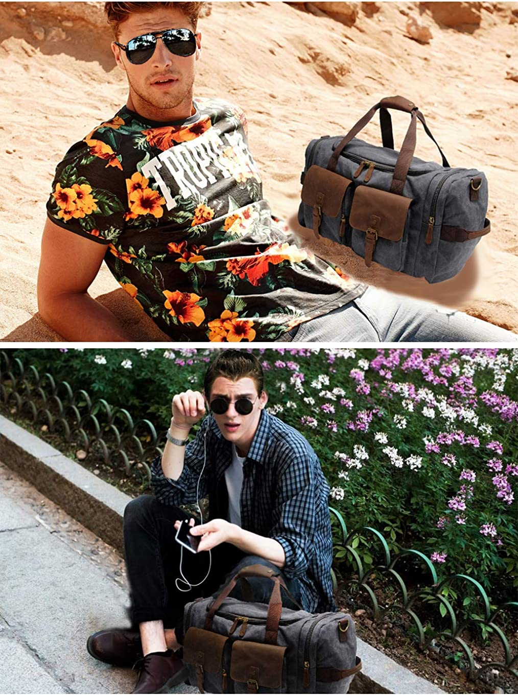 Kemys Canvas Duffle Bag Oversized Genuine Leather Weekend Bags for Men and Women