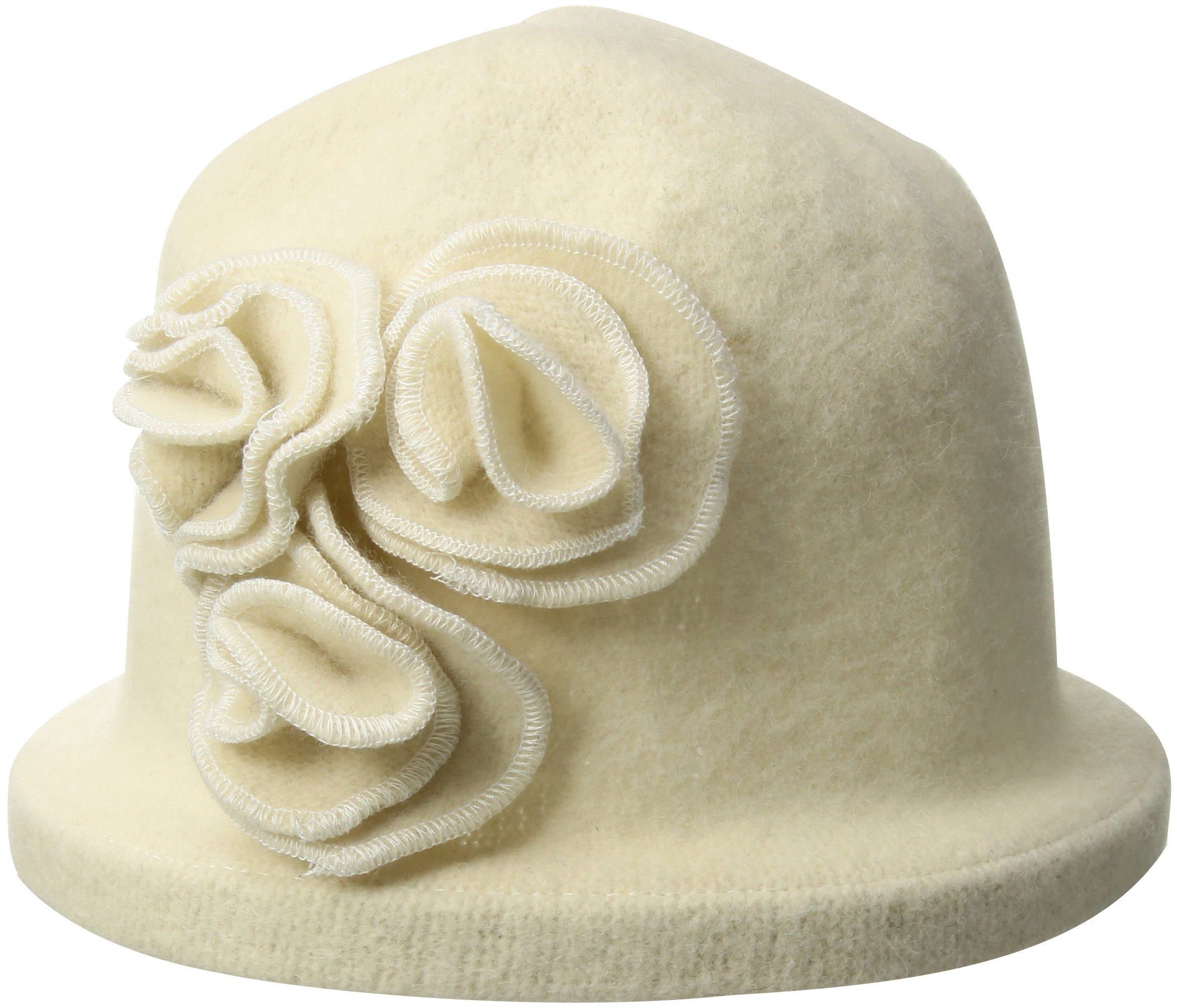 San Diego Hat Company Women's Soft Knit Cloche Hat with Side Flower Detail, Ivory Total Units