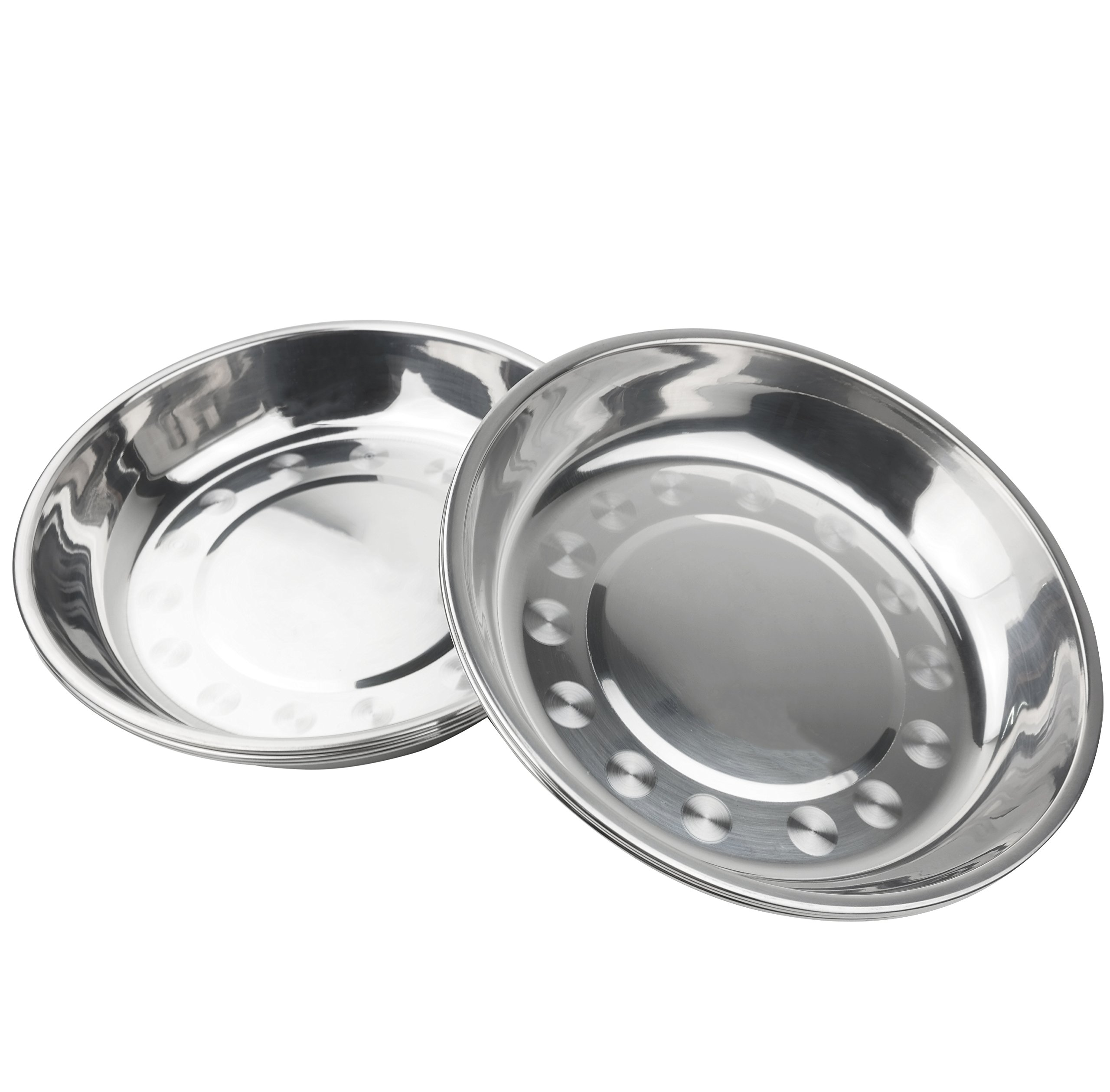 Nicesh Stainless 7.64 Inch Steel Dinner Plate Dish Food Holder Container Plates, Pack of 6