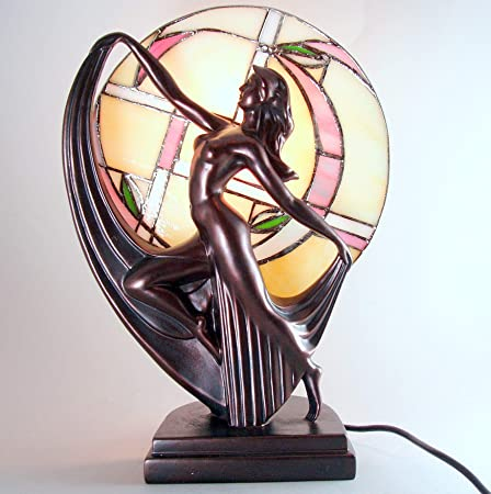 Art deco bronze dancing tiffany lady lamp amazon kitchen home art deco bronze dancing tiffany lady lamp publicscrutiny Image collections