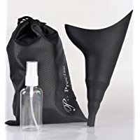 P.Precise Female Urination Device Urinal for Women or Ladies Lets You Pee or Wee Standing Up, Waterproof Fabric Carry Bag and 50 ml Pump Spray Bottle Included, Black in Color