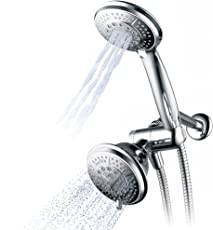 Hydroluxe Full-Chrome 24 Function Ultra-Luxury 3-way 2 in 1 Shower Head/Handheld Shower Combo - Use Two High Pressure Shower Heads Separately or Together as a Pampering Dual Showerhead Spa System!